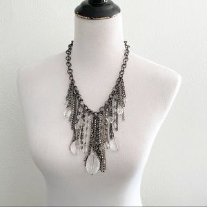 Jewelry - Statement Necklace Metal Crystal Fringe Bold